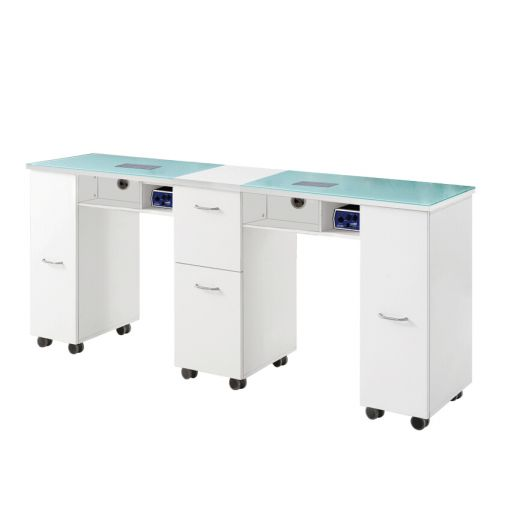 Concorde Double Manicure Table With Dust Extractor Fan White