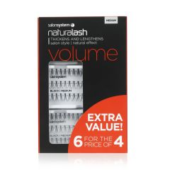 Salon System Individual Lashes Volume Black Medium 6 For 4
