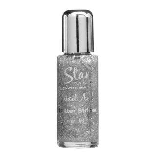 Star Nails Silver Glitter Striper