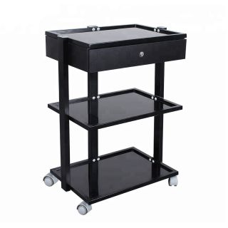 Frosted Trolley Black 1 Drawer