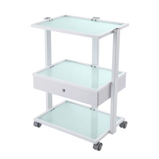 Frosted Trolley White 1 Drawer