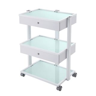 Frosted Trolley White 2 Drawer