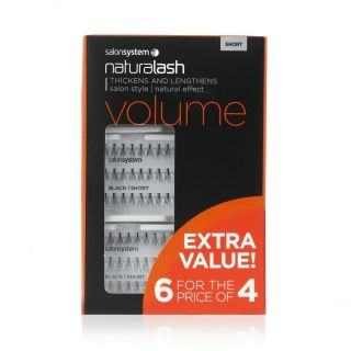 Salon System Individual Lashes Volume Black Short 6 For 4