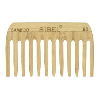 Sibel Bamboo B2 Wooden Antistatic Afro Comb
